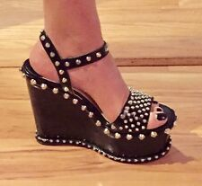 Prada Studded Spike Leather Ankle Strap Wedge Sandals Pump Black Size 41-$1250