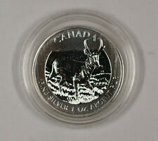 2013 $5 Deer Commemorative Canada 1 Troy Oz .9999 Fine Silver