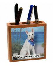 German Shepherd    white color      Personalized  Pencil and Pen Holder