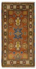 Orientteppich Kazak Teppich 131x63cm Orange Brücke Handgeknüpft Schurwolle 472