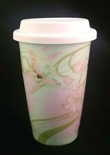 Disney Tinker Bell Travel Coffee Cup Pink Green Floral Ceramic Theme Parks Mug