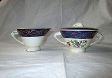 Royal Stetson Deluxe Sugar Bowl (with Lid) & Creamer, Blue Border, Gold Filigree