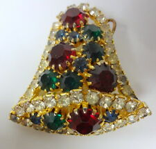 Vtg Juliana Period Rhinestone Christmas Holiday Bell Brooch Pin Pendant Sparkles