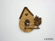 House with cute bird - Wooden Wall Clock