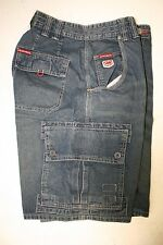 Ecko Unltd Blue Denim Cargo Shorts Embroidered (Mens 32) Rhino Zipper Jargo 2767