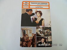 CARTE FICHE CINEMA 1962 TRAHISON SUR COMMANDE William Holden Lili Palmer
