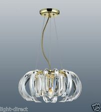 "BRASS CLEAR CRYSTAL PRISM CEILING LIGHT FITTING 36CM  PENDANT 14"" CHANDELIER"