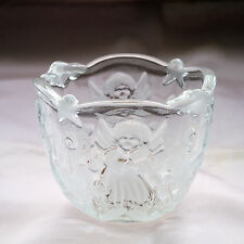 WALTHERGLAS GLASS SUGAR BOWL WITH ANGELS IN RELIEF