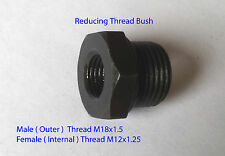 M12 x1.25 Female - M18x1.5 Male Thread Reducing Bushing Bush Tube Hex Pipe-STEEL