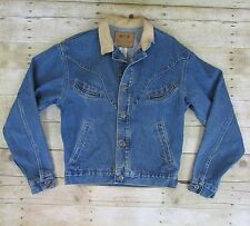 Schaefer Outfitter Mens Small Blue Denim Jacket Leather Collar Smile Pockets