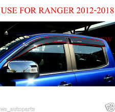 4 DOORS WINDOW VENT VISOR WEATHER GUARD FOR RANGER T6 XLT WILDTRAK 2012-2016 17