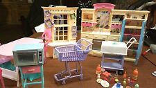 Barbie Doll Kitchen Shopping Cart Serving Cart Washer Dryer Table Oven Chairs