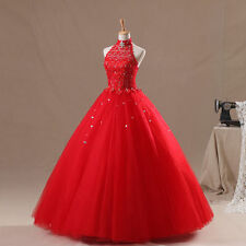 Red Halter Quinceanera Dress for 15 Years Formal Backless Prom Dress Party Gown