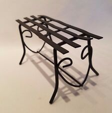 Dollhouse Miniature Black Metal Wrought Iron Outdoor Patio Bench Fairy Garden