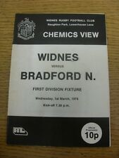 01/03/1978 Rugby League Programme: Widnes v Bradford Northern (stained). Item ap
