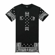 Lovers Mens Womens Cross Cashew Bandana Zipper Hip Hop Cotton Long T-shirt Top