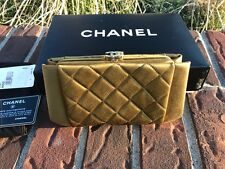 CoCo Chanel Satin Green clutch moss green in box