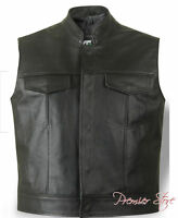 Leather Chest Pockets Style Biker Waistcoat Real Cowhide Leather Black Vest Rock