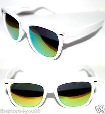 Wayfarer Large Frame Nerd Sunglasses White Frame gold green Mirror Lens 63mm