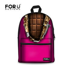FOR U DESIGNS Ladies Girls Fashion Chocolate Canvas School Bags Backpack Bookbag