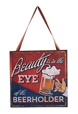 "KURT S. ADLER ""BEAUTY IS IN THE EYE OF THE BEERHOLDER"" BEER PLAQUE XMAS ORNAMENT"