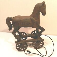 Cast Iron Metal Horse Pony on Wheels Pull Toy Cart Antique Replica Rustic Decor