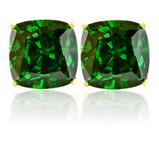 2.00 CARAT 14K SOLID YELLOW GOLD CUSHION CUT EMERALD STUD EARRINGS