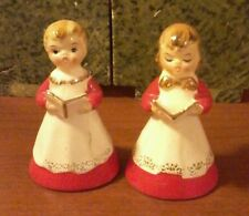 Boy and Girl  Vintage Christmas Singing Carolers Hand bells made in Japan