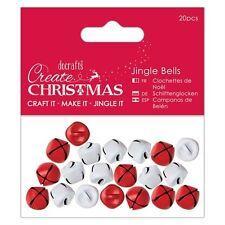 Jingle Bells Rojo Y Blanco Metal Artesanía de Navidad Adornos De Encantos 20 un. Matt