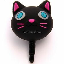 Black Cartoon Silicon Cat Anti Dust Plug Earphone Jack for iPhone