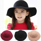 Baby Girls Children Wide Brim Hat Felt Bowknot Bowler Fedora Floppy Cap Cloche
