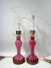Pair Antique CRANBERRY Striped GLASS Hurricane Candlestick LAMPS