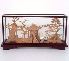 """Chinese Cork Sculpture Picture w/ Cranes Red Wood Frame Encased Glass 7.5""""L"""