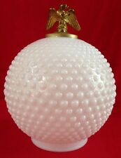 """Vintage 7"""" Hobnail White Milk Glass Lamp Post Shade Globes Brass Eagle Finials"""
