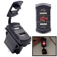 Dual USB 12V Car Boat Socket Rocker Switch Panel with Voltage Voltmeter Red