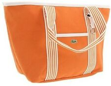 NWT Lacoste Tangerine Orange Medium COTTON CANVAS Shopping bag Tote Handbag