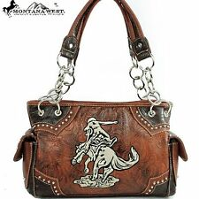 New! Montana West Western Horse Handbag Purse CGM-8085 BROWN NWT FREE SHIPPING