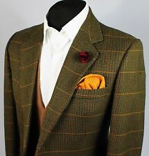 Blazer Jacket DAKS Signature Green Country Windowpane Wool 40R EXCEPTIONAL 355