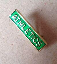 School Brooch Pin Badge Vintage Merit Mark ATHLETICS Green