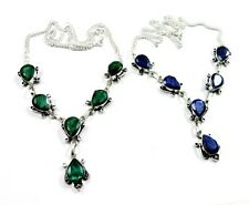 Natural Top Class Blue Sapphire,Green Emerald 925 Silver Plated 2 Pcs Necklace
