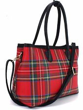 Ladies Girls Faux Leather Trendy Tartan University Tote Shoulder Bag Handbag Red