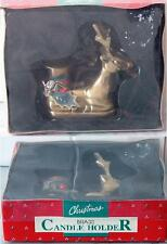 Vintage Brass Christmas Metal Reindeer Candle Holder sold by Roses Stores