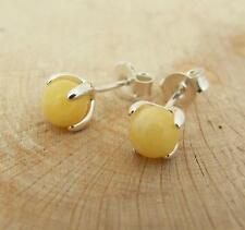 Butterscotch Baltic Amber Bead 925 Silver Stud Earrings 6mm