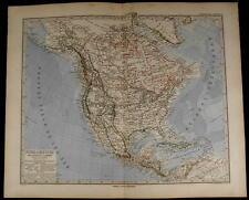 North America United States Canada Mexico Caribbean 1884 fine old detailed map