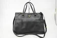 Authentic Prada Hand Bag Saffiano 2way Black Leather 10339