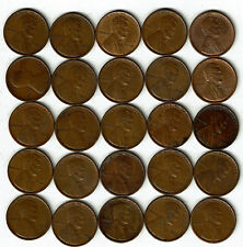 Half Roll(25 coins) collection of VF or better Lincoln Wheat Cents. 1909 VDB.