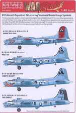 Kits World Decals 1/48 B-17 Squadron ID Bomb Group Numbers & Symbols Black