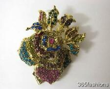 STATEMENT ROSE FLOWER RHINESTONE FAUX CRYSTAL BROOCH PIN GOLD MULTICOLOURED