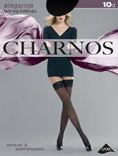 Charnos Elegance Lace Top Hold Ups Black Large 10 Denier