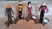 """4 Star Trek The Next Generation Character Figure 10"""" Dolls w Stands & Tags 1992"""